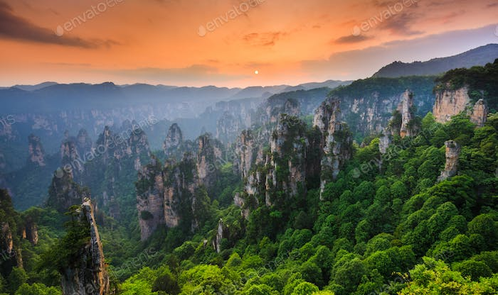 Zhangjiajie National forest park at sunset, Wulingyuan, Hunan, China