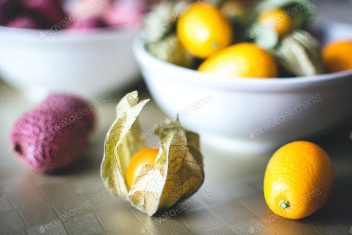 Litchi, kumquat and physalis balls