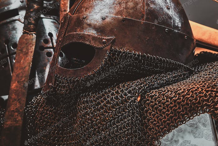 Photo of ancient helmet with chain mail.