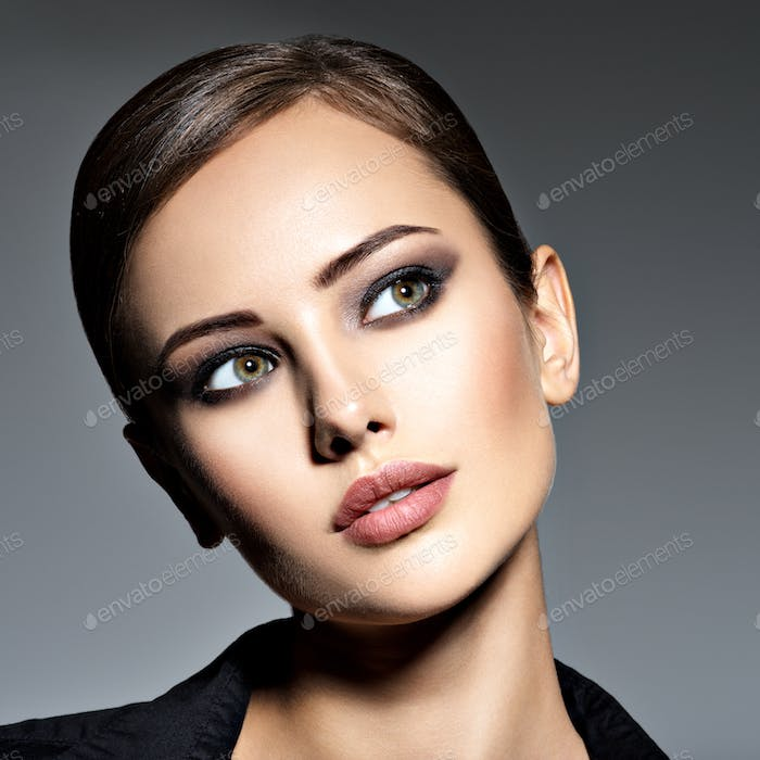 Woman makeup beautiful portrait face hairstyle fashion short