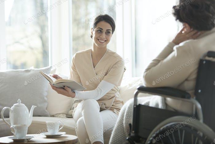 Caregiver reading book
