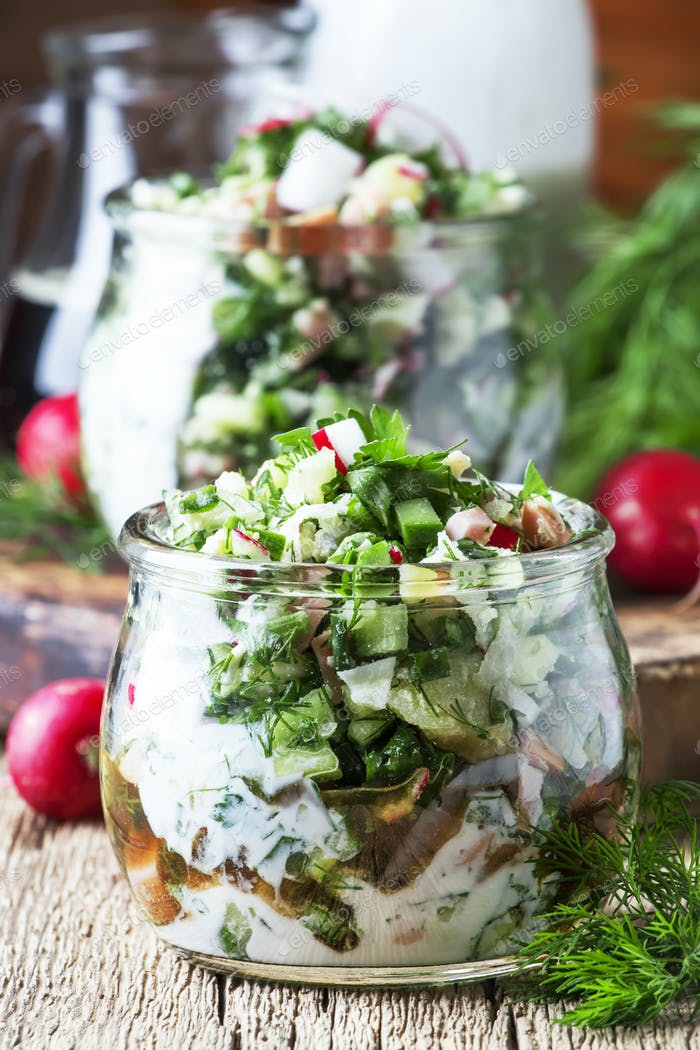 Russian cold summer soup with vegetables, meat and herbs