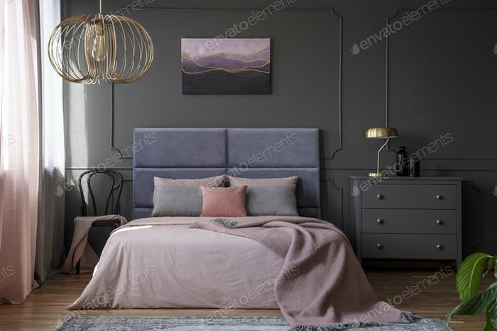 Elegant pastel bedroom interior