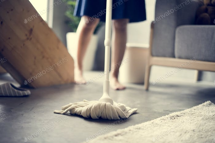 Japanese mother cleaning