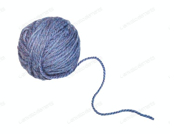 skein of melange blue yarn with unwound tail
