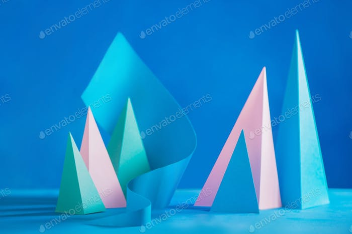 Abstract pastel tone header. Origami papercraft sculpture in pastel tones. Vibrant design template