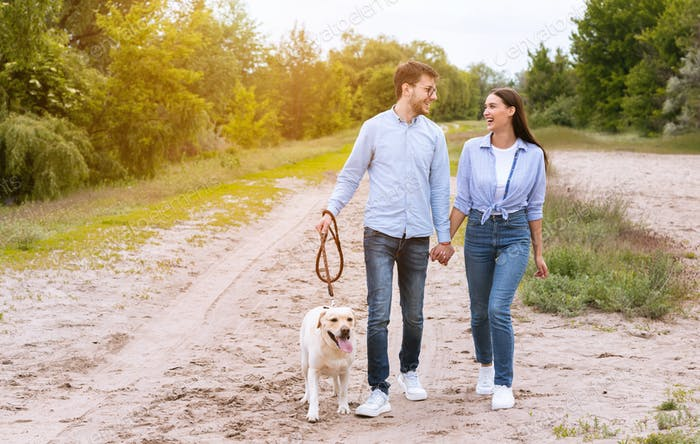 Cute couple and retriever walking together in countryside