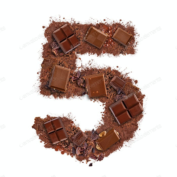 Number 5 made of chocolate bar