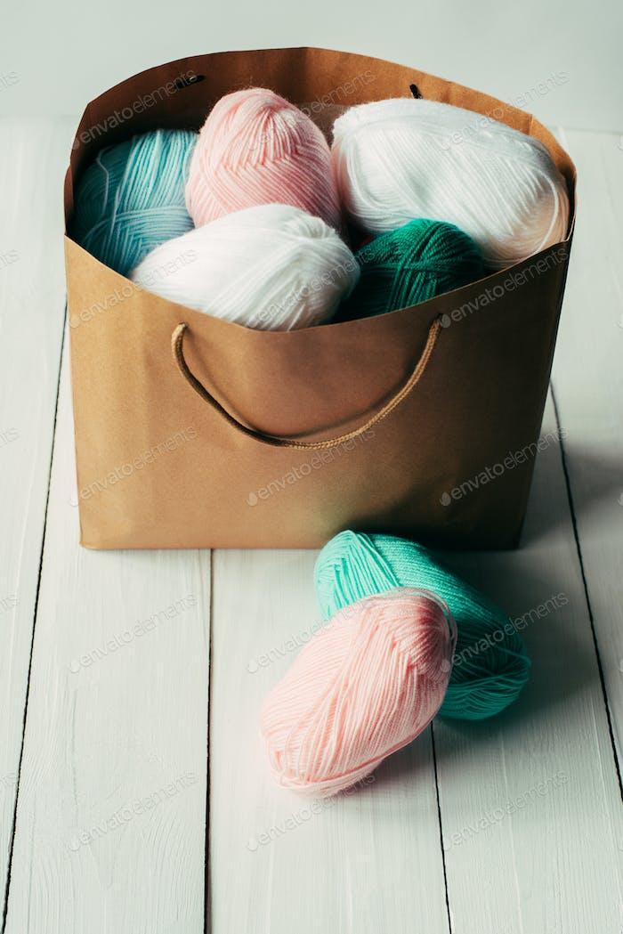 oval acrylic wool yarn thread skeins with kraft package