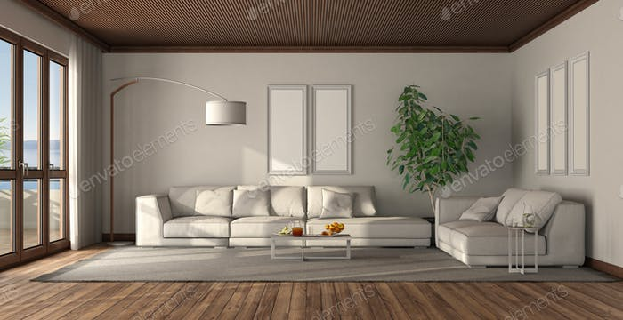 Minimalist white living room with wooden ceiling