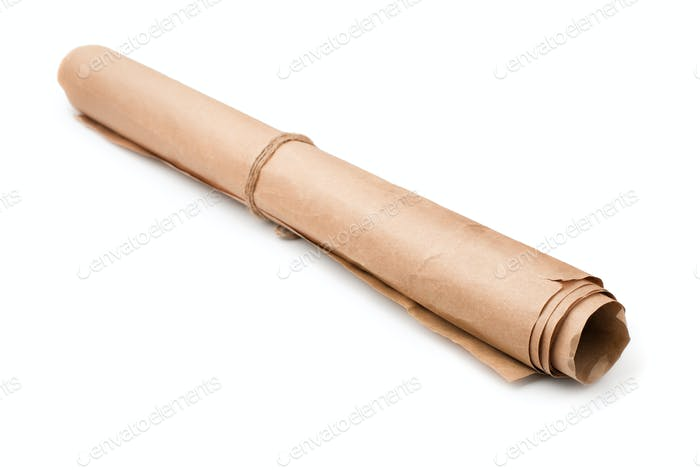 Roll of used brown wrapping paper