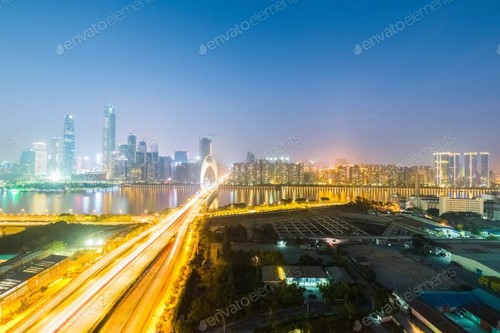 aerial view of guangzhou at night