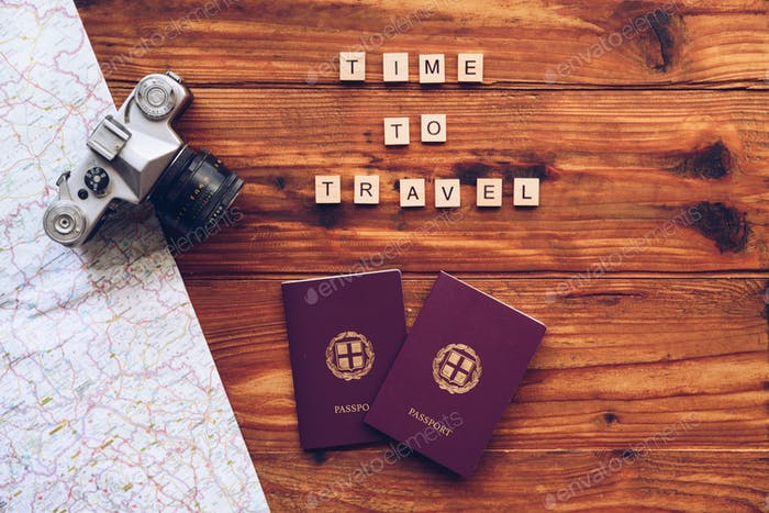 Time to travel words made from wooden letters. Travel concept