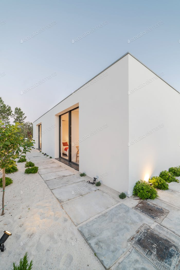 Modern villa outside view at blue hour