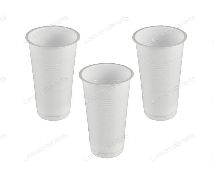 plastic glasses isolated