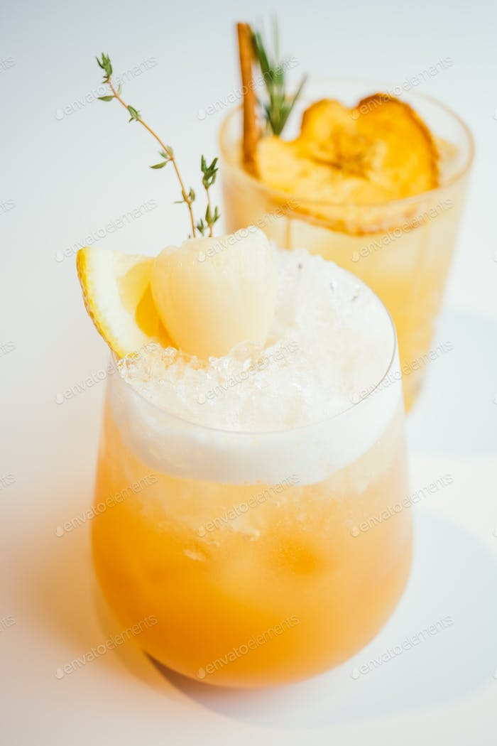 Iced cocktails lychee glass