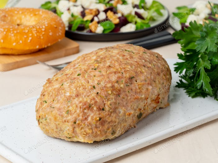 Terrine, meat loaf. Baked Turkey ground meat.