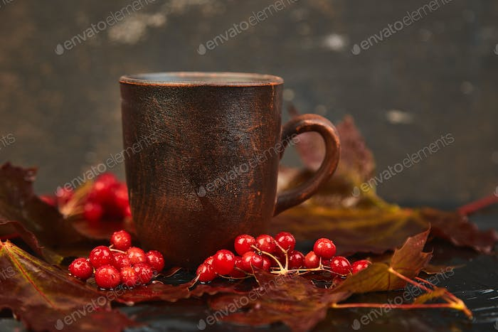 Mug or cup of hot viburnum tea.