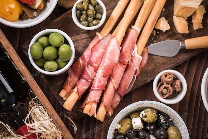 Regional spanish tapa apetizer in bar