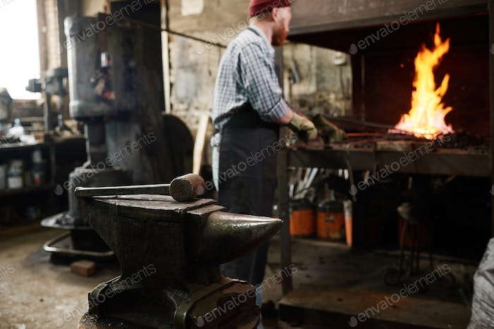 Work tools for blacksmith in the workshop