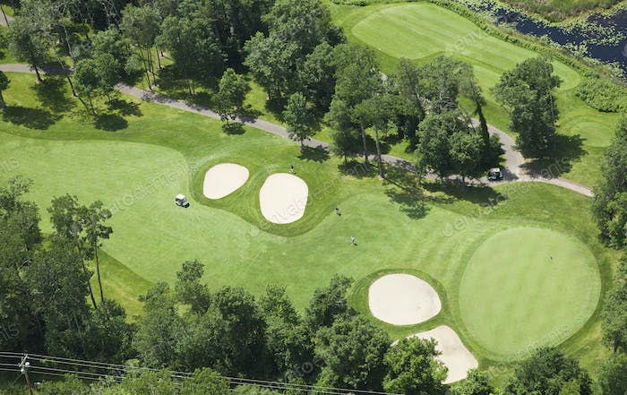 Aerial View of Golf Course During Summer