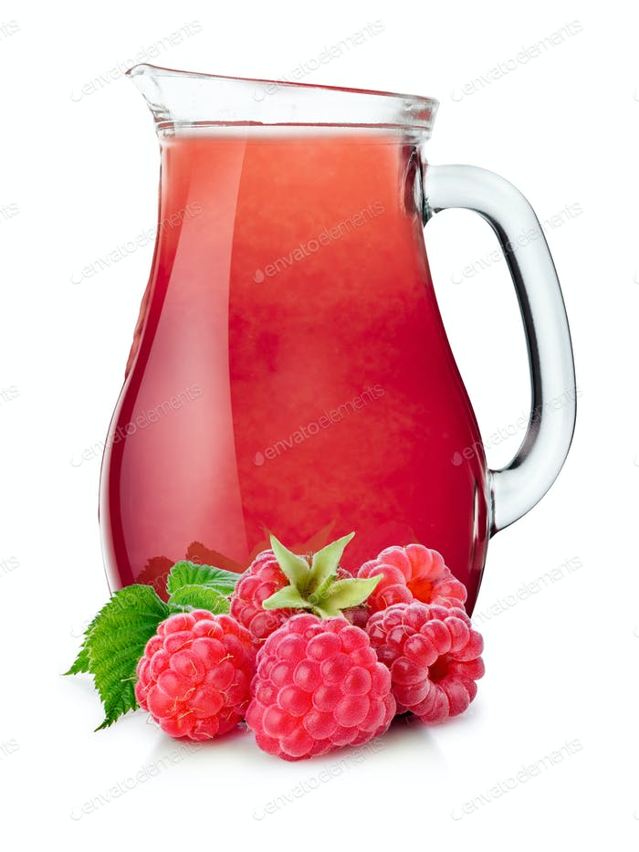Pitcher of raspberry smoothie