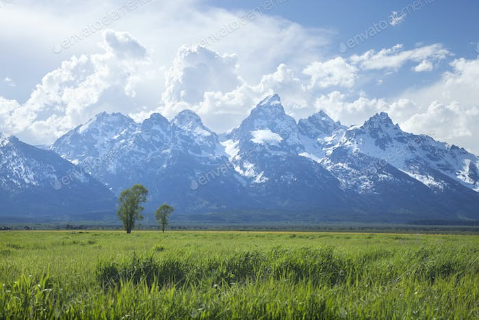 Grand Teton Mountains with Dramatic Clouds in Afternoon Light