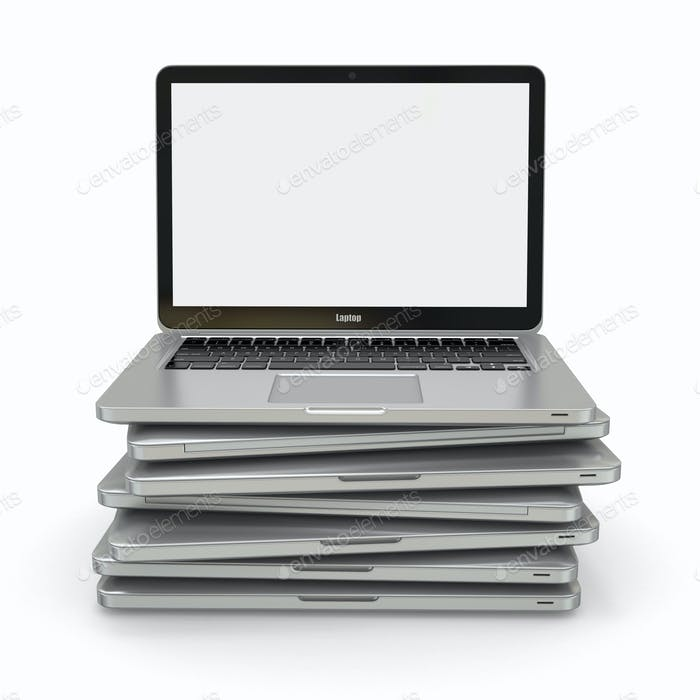 Stack of laptop. 3d