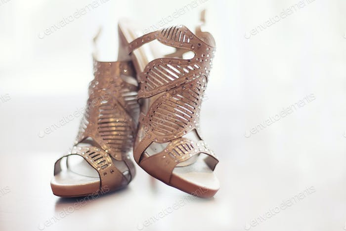 Elegant pair of grey bridal shoes