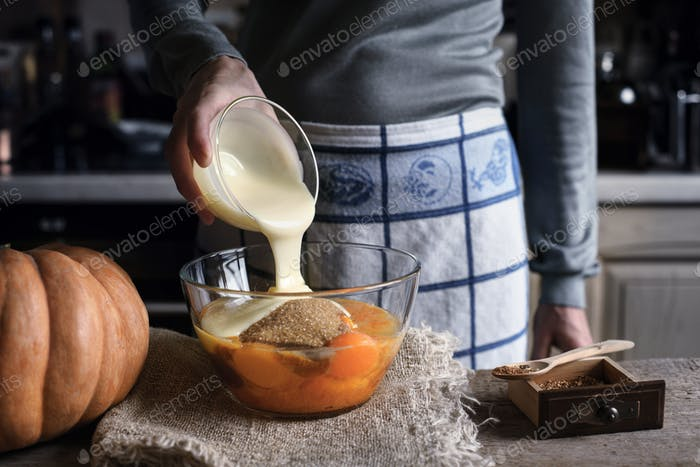 Adding condensed milk in the dough for pumpkin dump cake