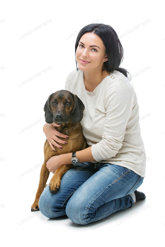 Beautiful girl with dog