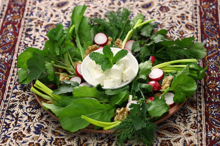 sabzi khordan, assortment of fresh herbs and raw vegetables salad, iranian cuisine
