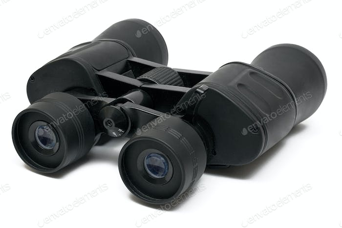 Dark Binoculars Isolated on a White Background