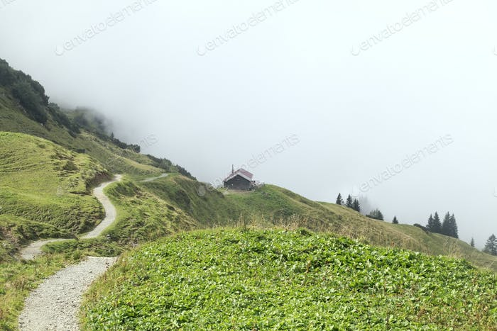 path to cabin in fog in mountains