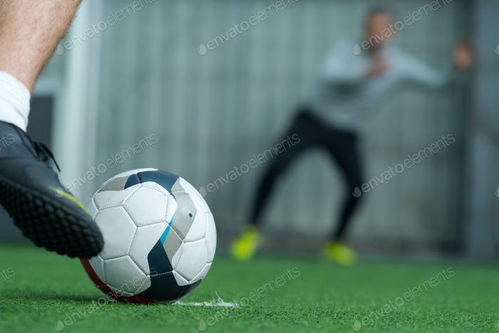 football ready to kick a penalty