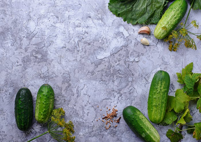 Ingredients for cooking pickled cucumbers