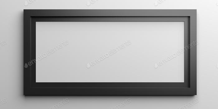 Black frame on white background. 3d illustration