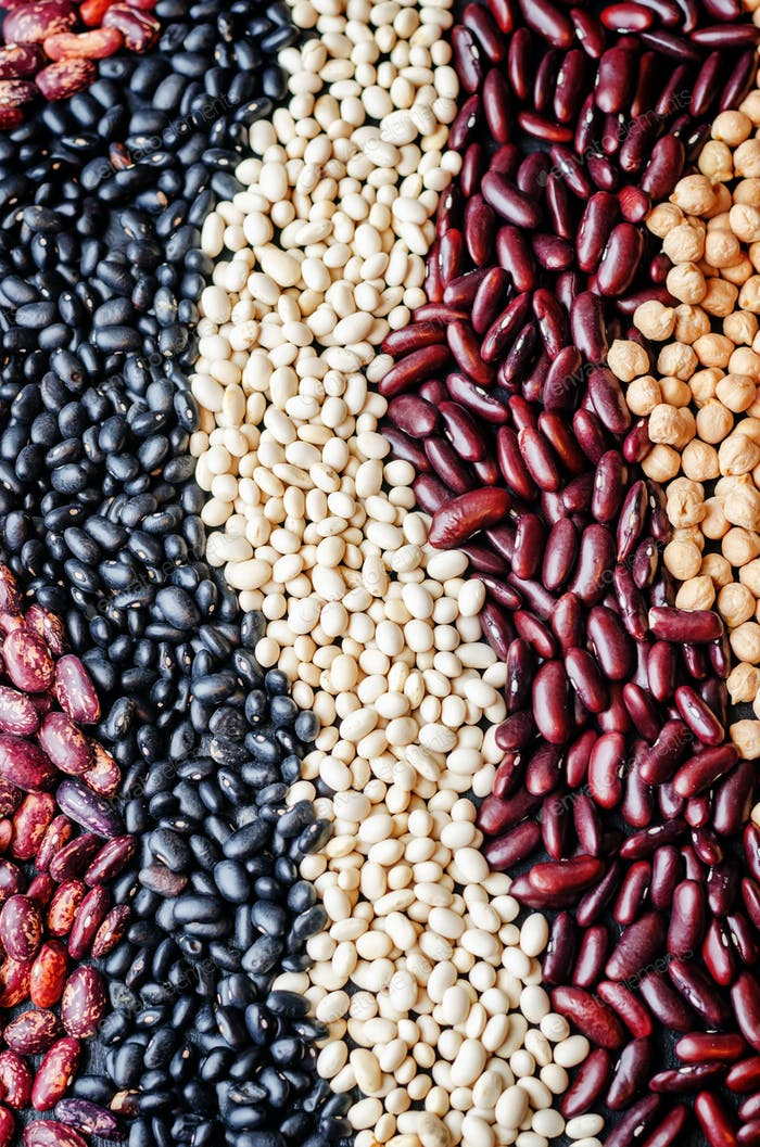 multicolored, black, white, red beans