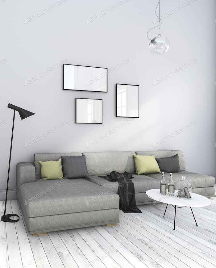3d rendering nice minimal white living room with furniture