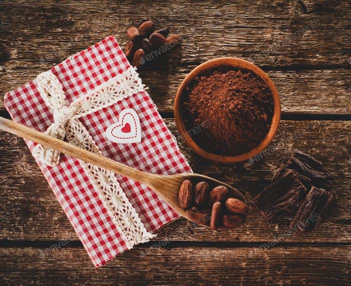 Zutaten für handwerkliche Schokolade