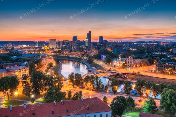 Vilnius, Lithuania, Europe. Sunset Cityscape. Modern Office Buil