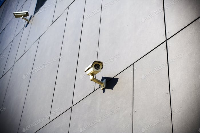 Security cameras on dark building