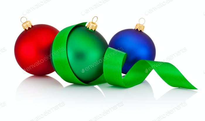 Three colored Christmas baubles with ribbon isolated on white ba
