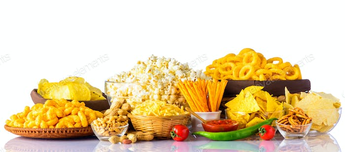 Junk Food on White Background