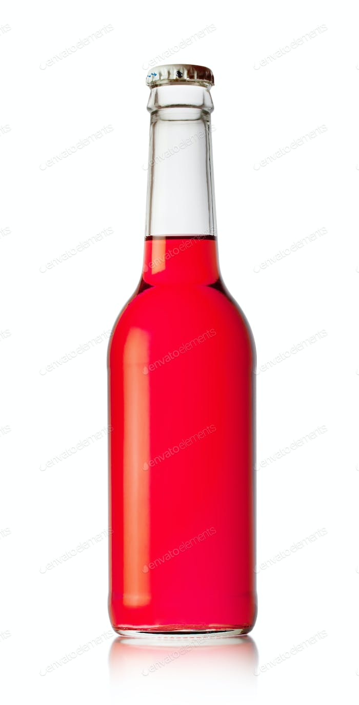 Bottle with red drink