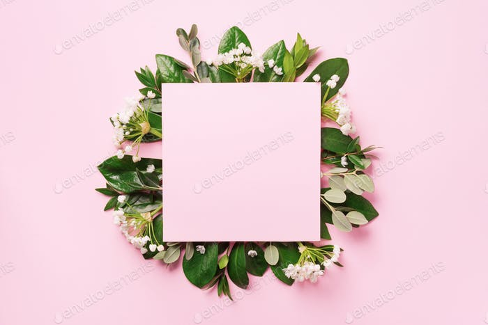 Summer and spring concept. Tropical nature background with green leaves, white flowers and white
