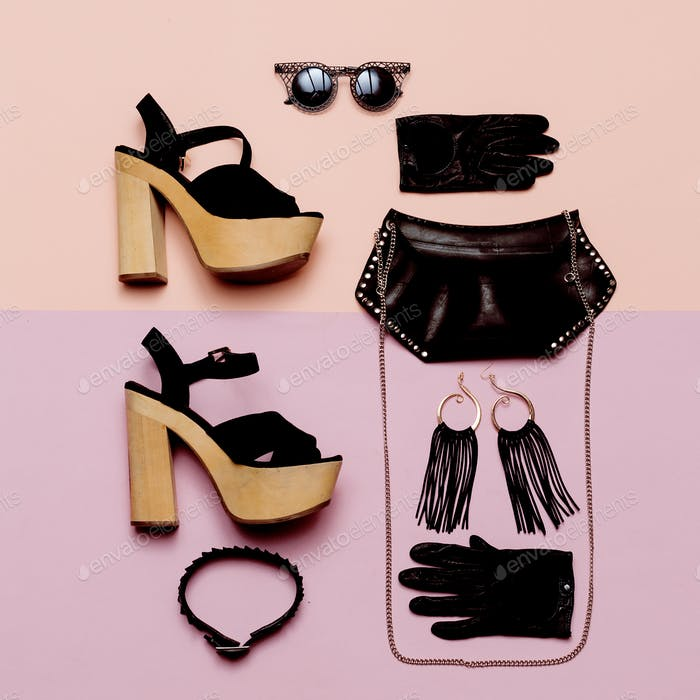 Stylish Lady Outfit Black Rock style accessories, fashionable bl