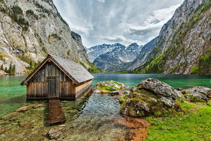 Boat dock on Obersee lake. Bavaria, Germany