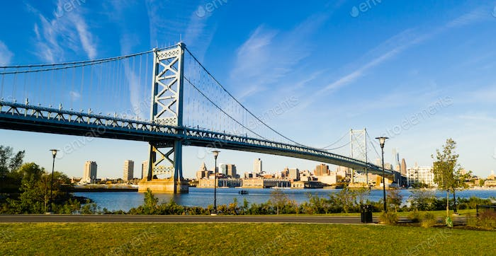 Ben Franklin Bridge Delaware River Camden NJ Philadephia Pennsylvania