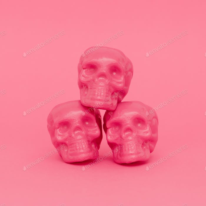Pink Mood. Skull. Pink colours trend. Fashion minimal art
